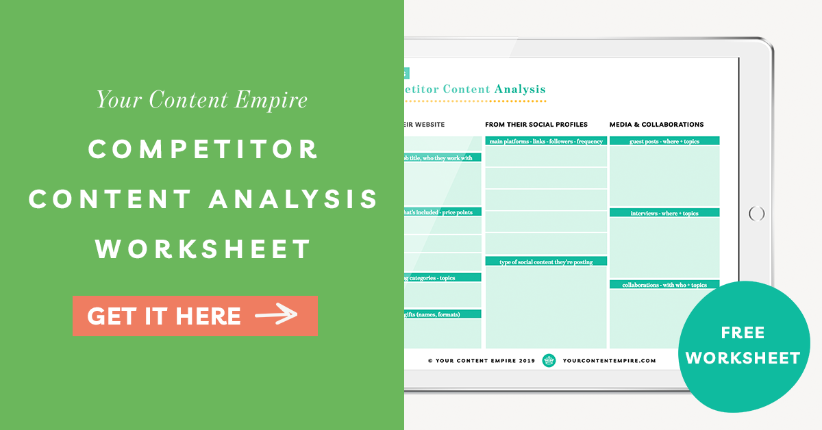 Freebie | Competitor Content Analysis Worksheet