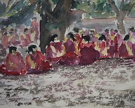 Photo: Monjes discutiendo de teología en el Tibet, 23 x 31 cm, 14-8-06, 250 €
