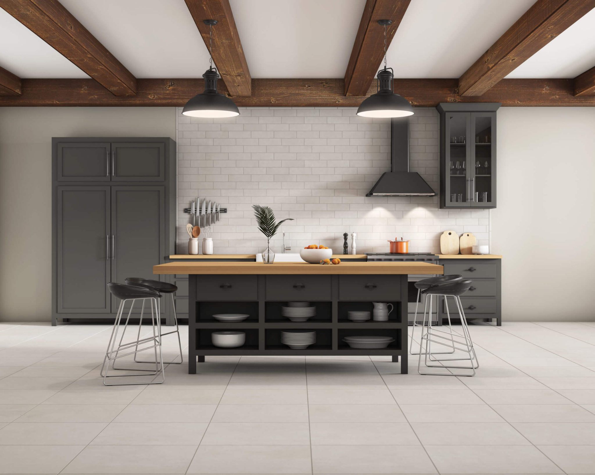 Kitchen with cream tile flooring and backsplash