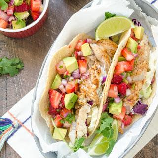 Fish Tacos with Strawberry Avocado Salsa