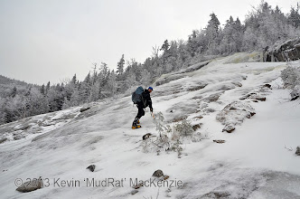 Photo: Kevin walking up the last of the Irene track.
