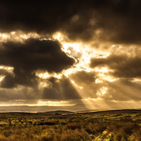 Break Through by Adrian Wilson - Landscapes Cloud Formations ( ribblesdale, yorkshire, malham, yorkshire dales, sunshine, landscape, settle, airedale )