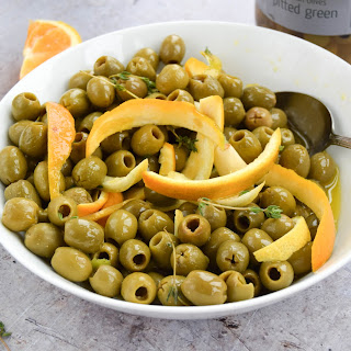 Citrus Marinated Olives With a Citrus Glow Martini.