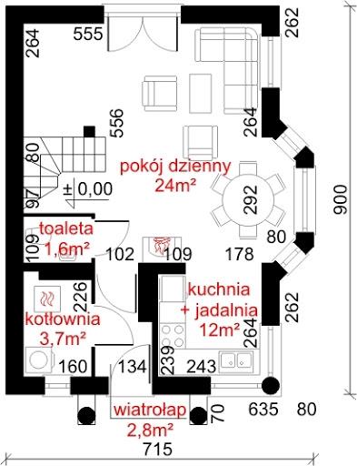 Dom przy Waniliowej - Rzut parteru