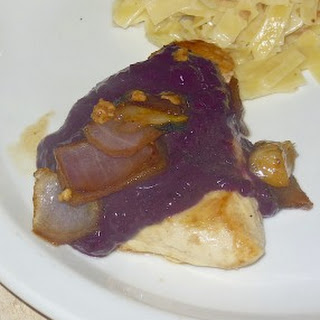 Caramelized Onion Chicken with a Blueberry Tofu Topping