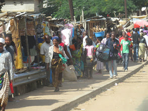Photo: a typical town- most businesses are small roadside stands as opposed to shops in formal structures