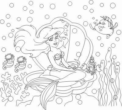 Desenhos para pintar A Pequena Sereia sentada