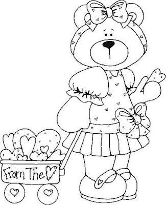 ursinha carregando um carrinho de corações