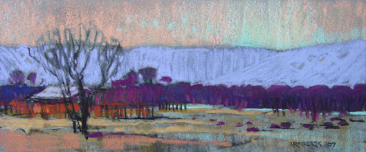 Photo: Brentwood Orchard, pastel by Nancy Roberts, copyright 2014. Private collection.