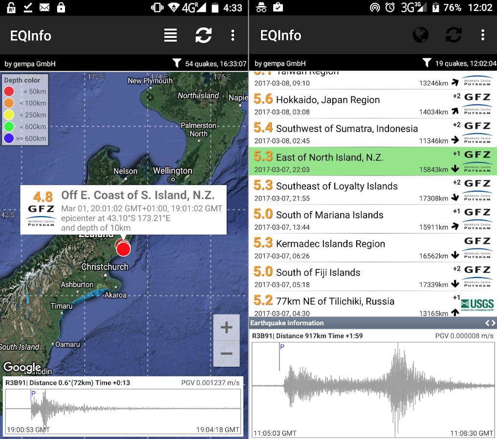 EQInfo - Global Earthquakes- screenshot