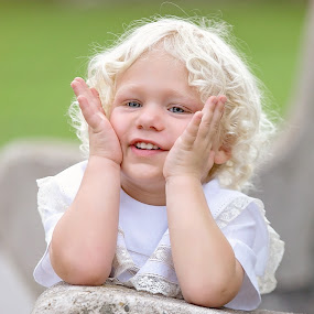 Bradley Nelson Thrash by Jeannie Meyer - Babies & Children Child Portraits ( blonde, peek-a-boo, little boy, curls, picnic beach, white, blue eyes, blonde curls, smile,  )