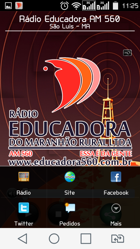 Rádio Educadora AM 560: captura de tela