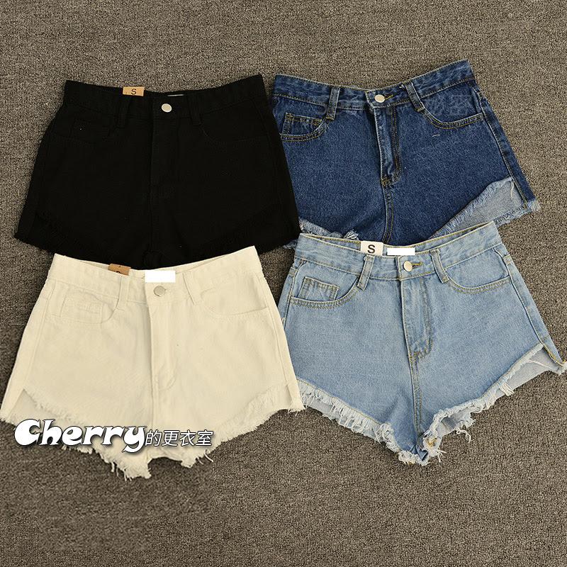 韓版顯瘦寬鬆素色純色高腰流蘇邊牛仔短褲熱褲