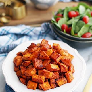 Roasted Maple Cinnamon Sweet Potatoes.