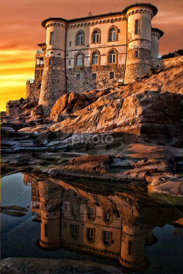 Castel Boccale Tuscany, Livorno by Gianluca Presto - Buildings & Architecture Homes ( home, reflection, houses, cliffs, tuscany, toscana, cliff, romantic, sea, house, beach, reflecting, liberty, ancient, sunset, castle, livorno, homes, italy, rocks, reflect,  )