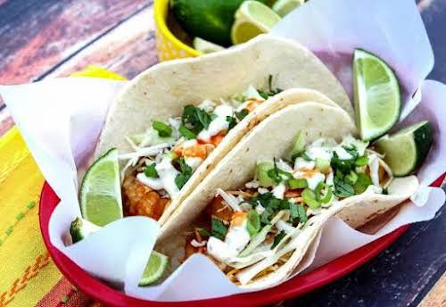"Beer Batter Fish Tacos""The beer batter is light and crunchy, perfect with..."
