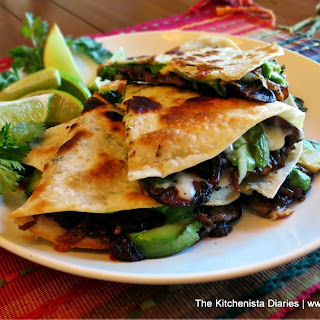 Mushroom, Avocado & Chipotle Caramelized Onion Quesadilla