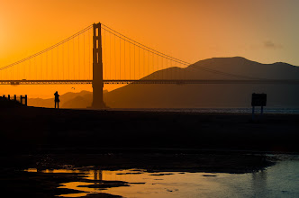 Photo: I was in San Francisco a couple of days ago and decided to venture out to Crissy Field to see the sunset and try to grab a shot of the Golden Gate Bridge. It was a beautiful day and so anticipated that the beach would be packed, but to my surprise, this is the only other person I saw the entire time I was there!
