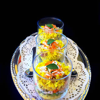 Healthy and Quick - Savory Breakfast Poha Trifle.