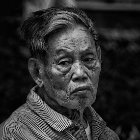 Contemplation by Richard Ryan - Black & White Portraits & People ( black and white, male, hanoi, old man, vietnam )