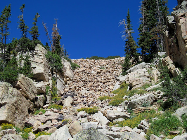 Massive rock dam at Big Elk Lake