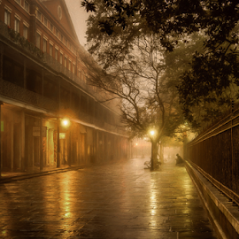 Haunted by Sheldon Anderson - Buildings & Architecture Public & Historical ( new orleans, haunting, dec, fog, am, 2016, jackson square )