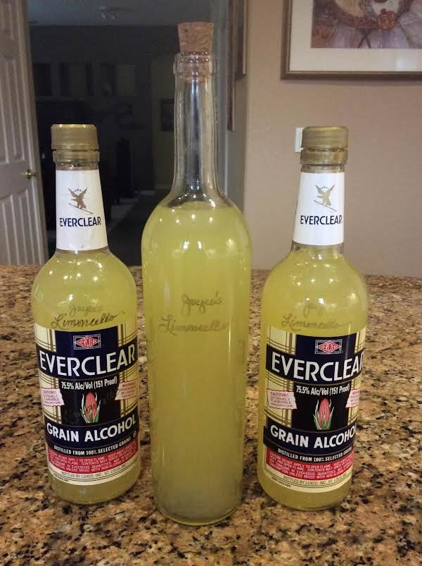New Year, New Batch Of Limoncello! January 3,2016. I Saved My Everclear Bottles To Pour My Limoncello Into, Plus One Recycled Clear Wine Bottle. The Recipe Fills (3) 750 Ml Bottles, Plus 4 Oz Left Over.