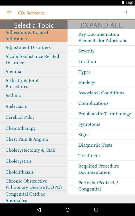Elsevier CDI Reference- screenshot