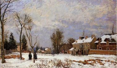 """Photo: Camille Pissarro, """"La strada di Versailles Saint-Germain, Louveciennes - effetto neve"""" (1872)"""