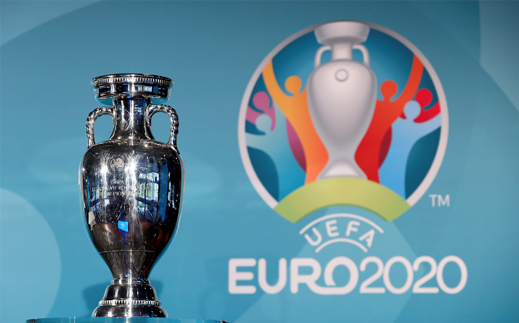 The Uefa Euro 2020 trophy is seen during logo launch