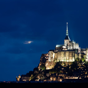 Le Mont Saint Michel by Max Mayorov - Landscapes Travel ( illuminated, michel, gothic, europe, rock, travel, architecture, landscape, historic, heritage, attraction, brittany coast, city, island, sight, sky, fortress, france, illumination, normandy, sightseeing, abbey, building, church, sint, le mont saint michel, sea, tourism, fort, postcard, saint, rural, history, landmark, vacation, mont, monastery, normandie, cathedral, castle, night, culture )