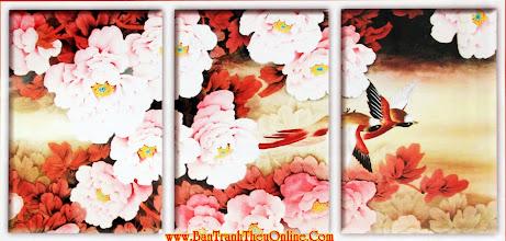 Photo: Tranh thêu chữ thập Mẫu đơn hồng A258