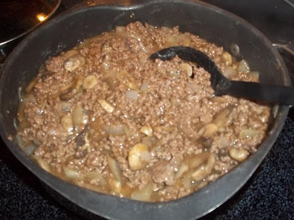 Stir gravy into meat mixture and cook until gravy has thickened.