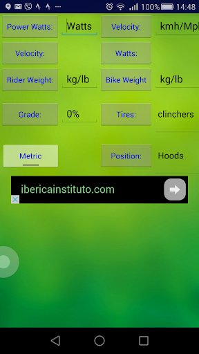 Cycling Speed Watt Calculator