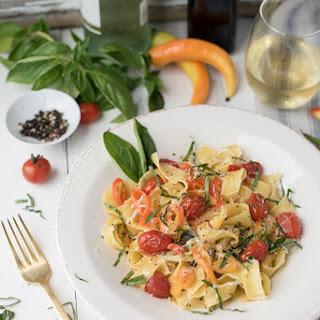 Pappardelle with Blistered Tomatoes & Roasted Peppers.