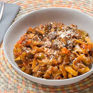 Fresh Fettuccine Pasta with Porcini Mushroom Bolognese.