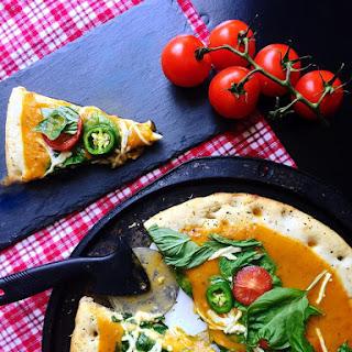 Vegan Caprese Ciabatta Pizza with Yellow Tomato Sauce.