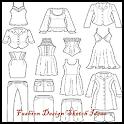 Full Fashion Design Flat Sketch icon