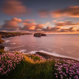Kilkee Cliffs by Ryszard Lomnicki - Landscapes Cloud Formations ( sunrise, longexposure, sunset, kilkee cliffs, ireland )