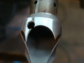 Photo: Detail work on the stainless fork crown.  I'll mimic this detail on both the head lugs as well.
