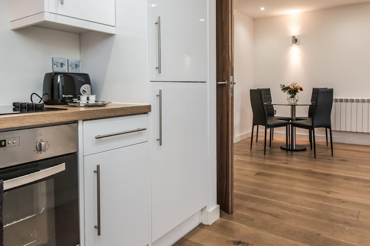 Full kitchen at Banner Street serviced apartments, Old Street