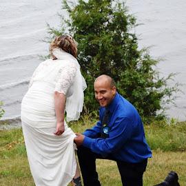 Summer Wedding by Kasha Newsom - Wedding Bride & Groom ( wisconsin, wedding photography, bride and groom, beach, summer wedding, summer )