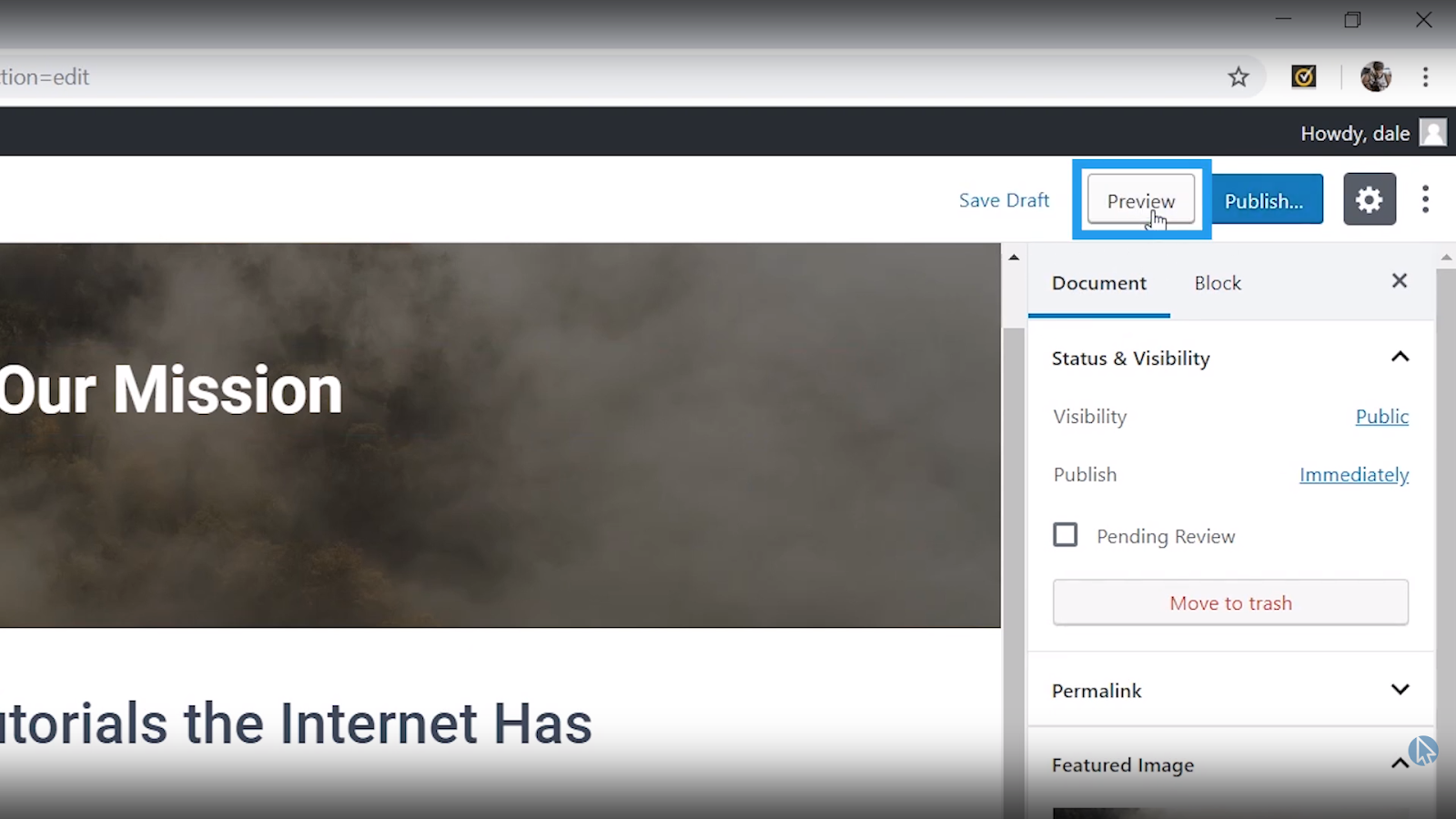 preview page wordpress tutorial for beginners
