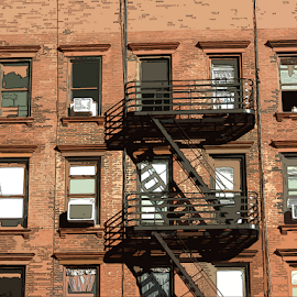 NY Apartments by Edward Gold - Digital Art Places ( digital photography, red brick, open windows, closed windows, air conditioners, window shades, digital art,  )