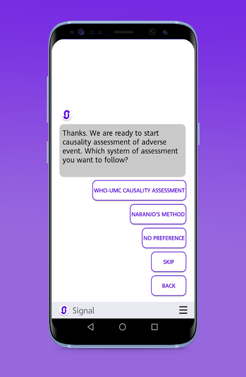 Signal: Virtual Assistant to Report Adverse Event – (Android