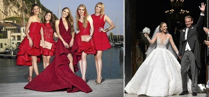 Michale Cinco designed three dresses for Victoria Swarovski's wedding celebrations.