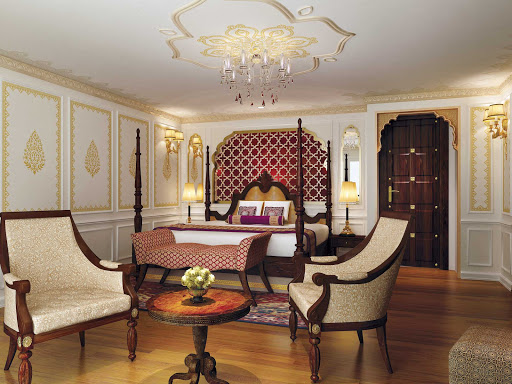 Ganges-Voyager-II-maharaja-suite.jpg - The Maharaja Suite on  Uniworld's Ganges Voyager II, which sails India's Ganges River to the Taj Mahal.