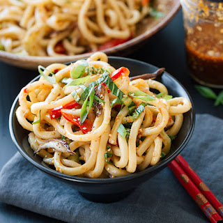 Chilled Garlic Sesame Udon Noodles with Bok Choy, Shiitake Mushrooms and Red Bell Pepper.