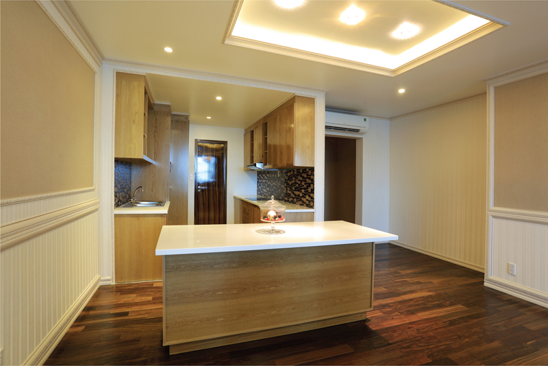 Kitchen counter in a rental apartment at Leman Luxury