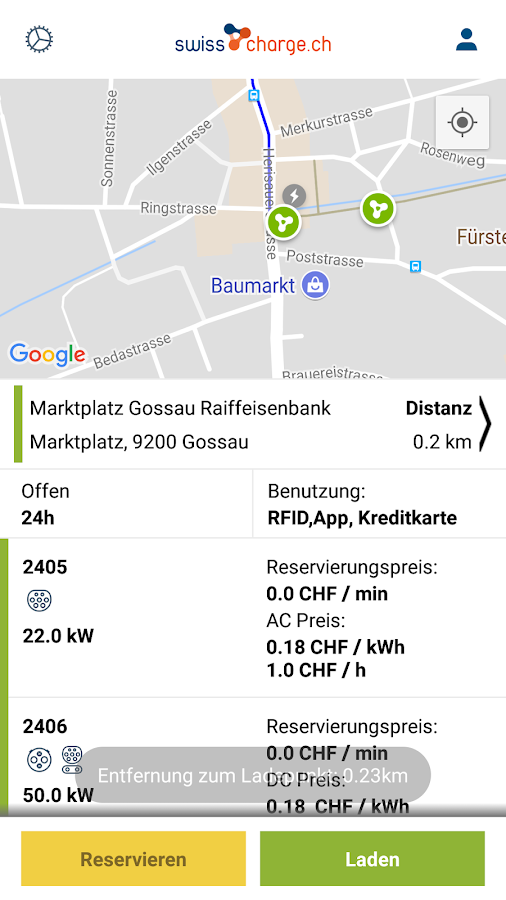 swisscharge.ch eMobility App- screenshot